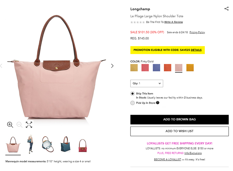 0fb6ba798d7 Bloomingdale s Sale  Extra 25% Off Burberry and Longchamp. Pin this image  on Pinterest · Longchamp Le Pliage Large Nylon Shoulder Tote
