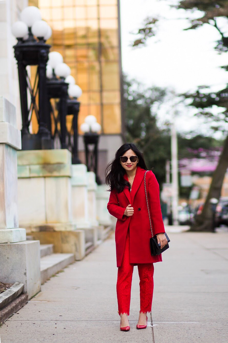 7d101d52445 From this post  J. Crew Daphne Topcoat in Italian Boiled Wool in Bright Red  (size 00P)    J. Crew Easy Pant in Lace (size 00P)