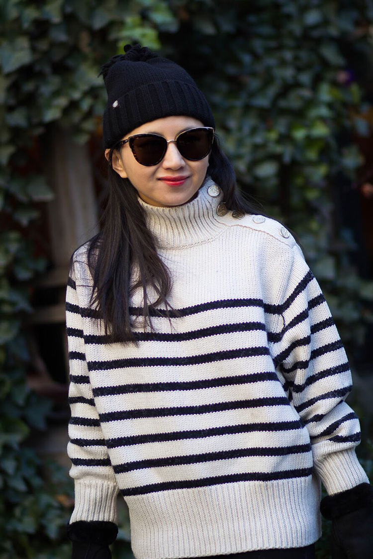 Striped Sweater + Winter Parka