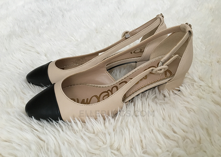 af8176bc6bb Buy the Sam Edelman Leah Cap Toe Pumps in Summer Sand Black (shown here)  and Ballet Pink Black.