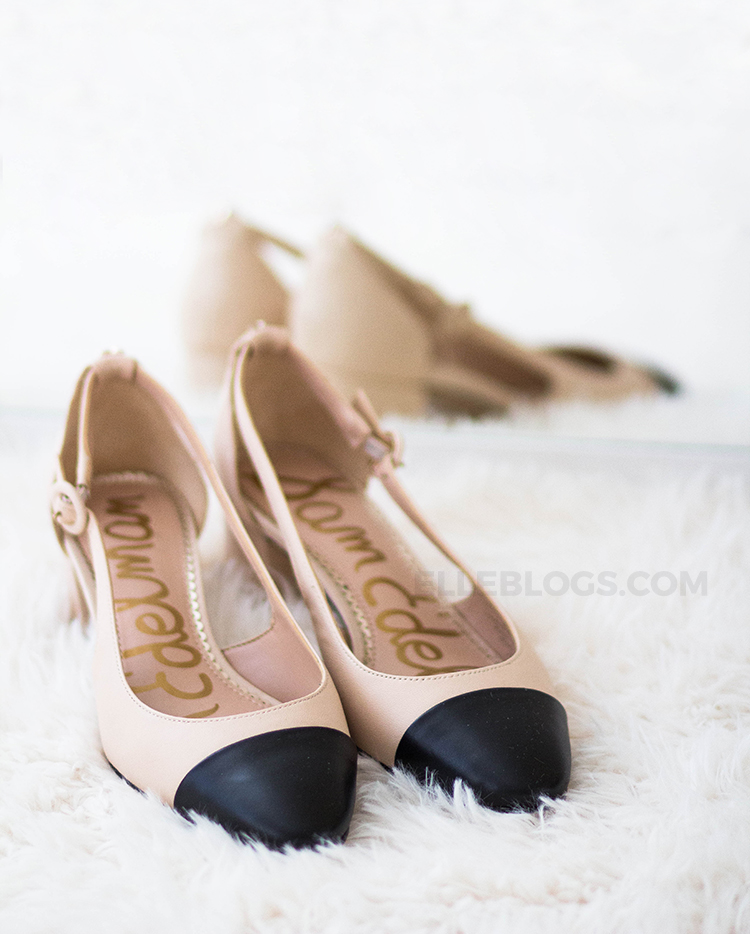 f34dd36cb029 Review  Sam Edelman Leah Cap Toe Pumps (Chanel Slingbacks Lookalike ...