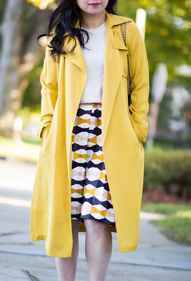 Yellow Trench + Print Skirt