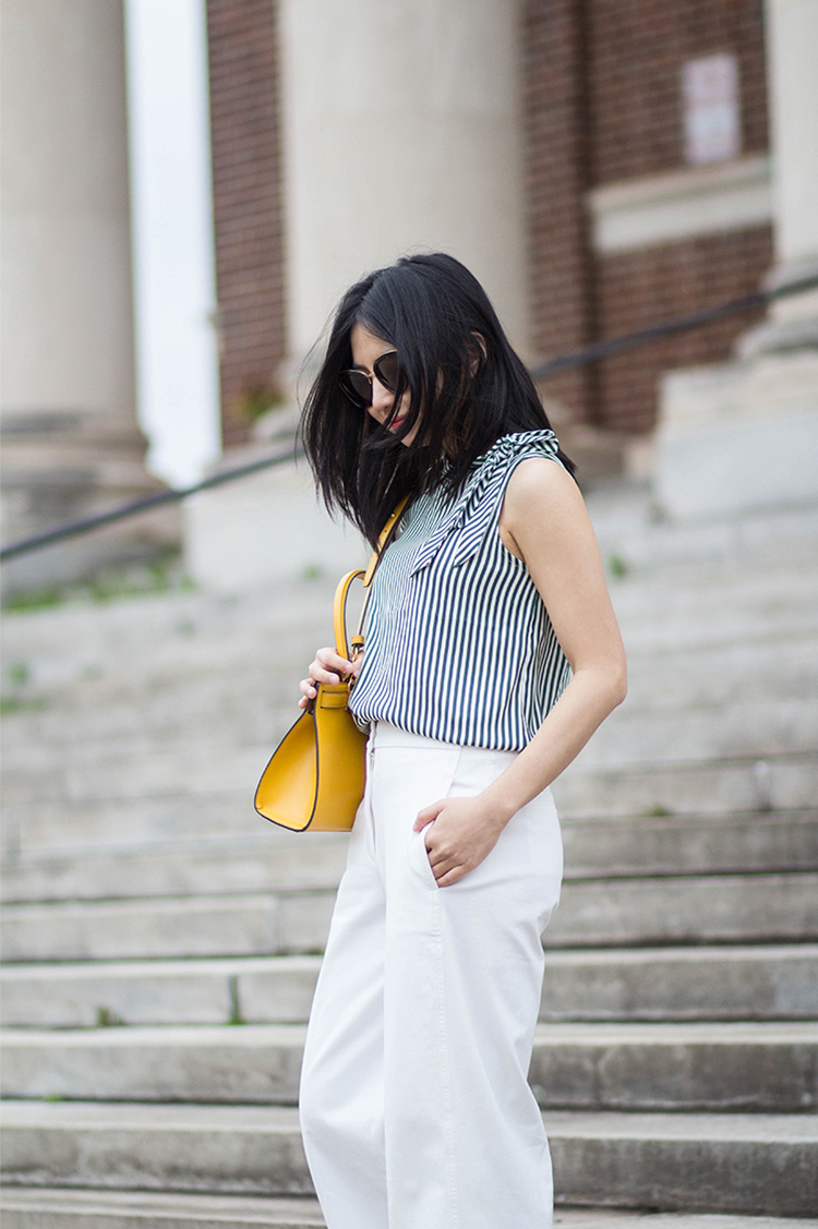 Green Stripes & Yellow Bag