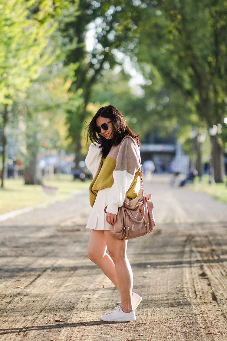 Colorblock Sweater + Pleated Skort