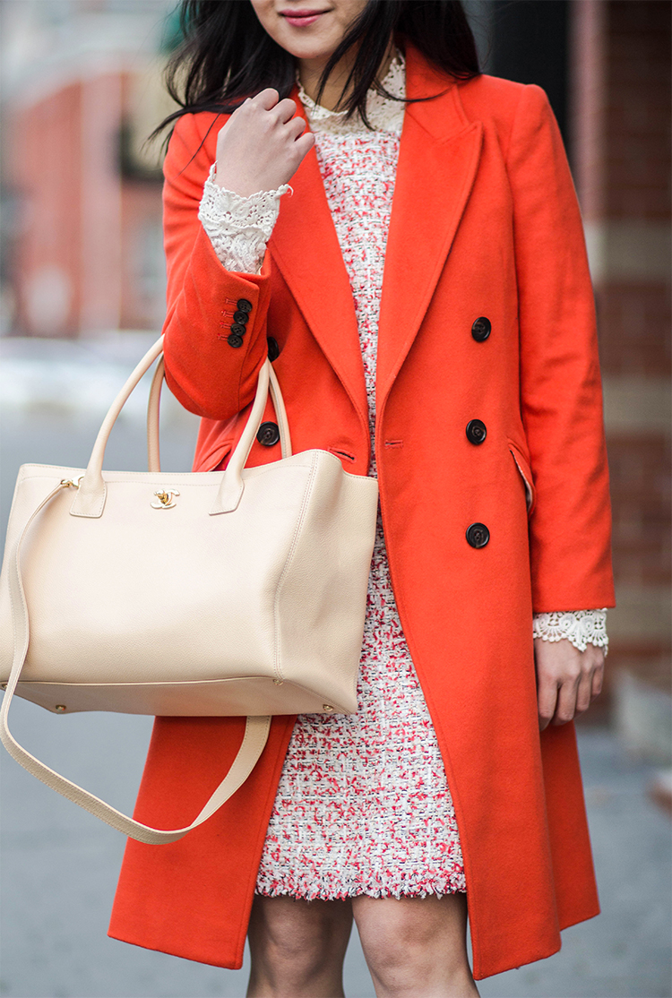 Radiant Orange (J. Crew Double-Breasted Topcoat in Wool Cashmere)