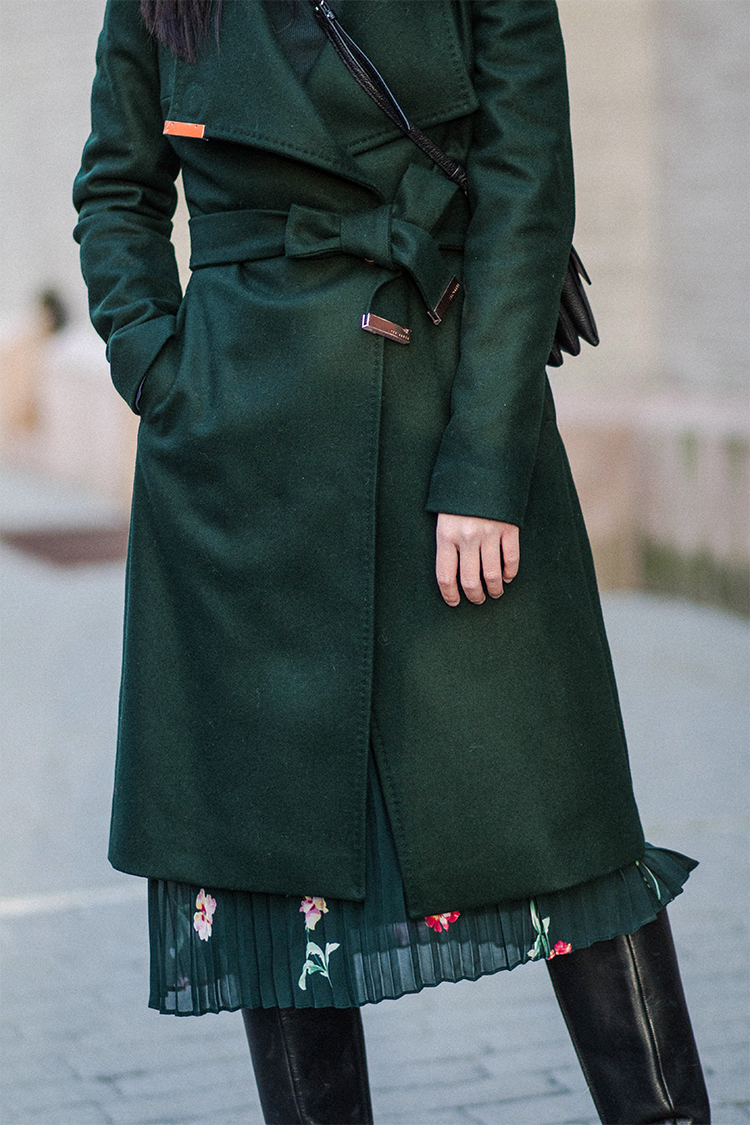 Green Wrap Coat & Floral Pleated Skirt