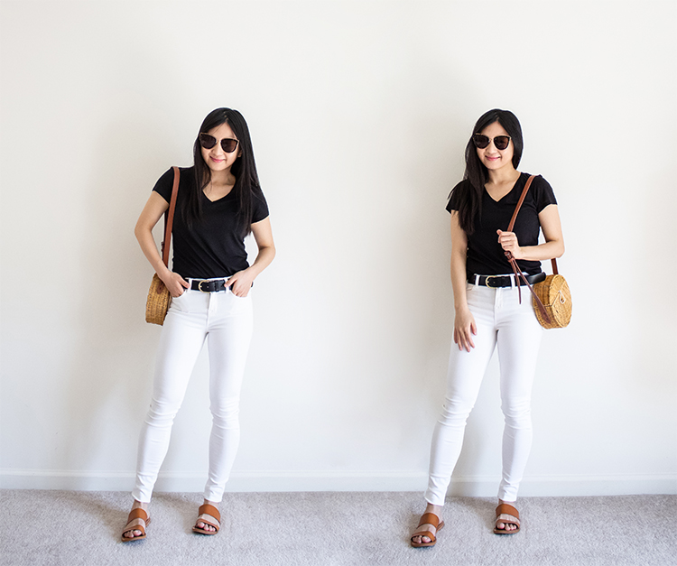 This image has an empty alt attribute; its file name is White-Jeans-Black-Tee.jpg